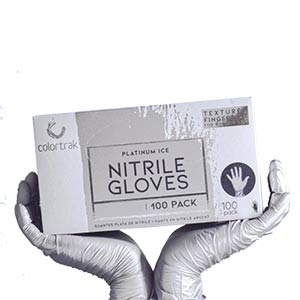 Product image for Colortrak Nitrile Glove Platinum Ice Medium 100 ct